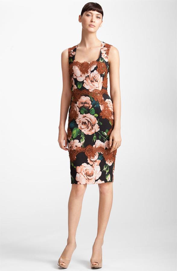 Dolce & Gabbana Rose Print Stretch Cady Dress