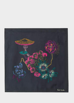Paul Smith Men's Black 'Florian' Print Silk Pocket Square