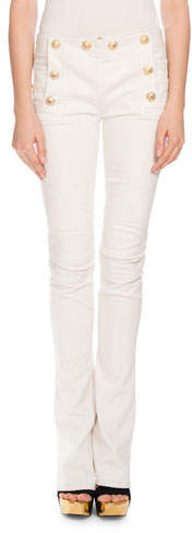 BalmainBalmain Sailor-Button Boot-Cut Jeans, White