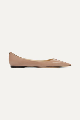 Jimmy Choo Love Patent-leather Point-toe Flats - Antique rose