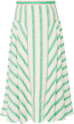 DELPOZO Striped Linen-Blend Midi Skirt