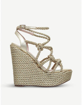 Kurt Geiger London Notty metallic rope-detail wedge sandals