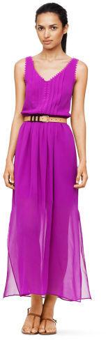 Club Monaco Tomi Scallop Detail Silk Dress