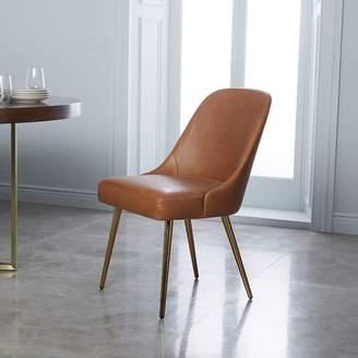 west elm Mid-Century Leather Dining Chair - Saddle/Blackened Brass