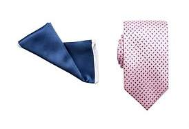Geoffrey Beene Tie & Pocket Square Set - Geometric/Plain Border