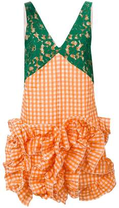 MSGM checked ruffled lace dress