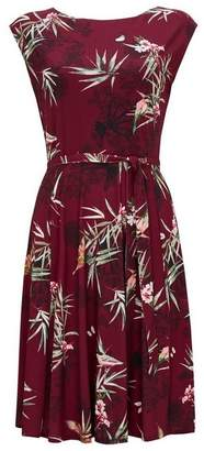 Wallis Burgundy Bird Print Fit and Flare Dress
