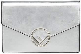 Fendi Silver logo Leather Wallet Bag
