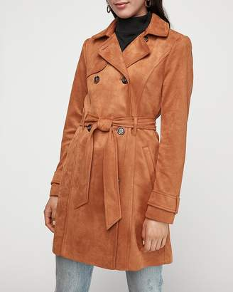 Express Classic Faux Suede Double Breasted Trench Coat