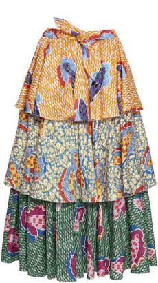 Stella Jean Tiered Cotton Blend Skirt