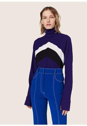 Derek Lam Long Sleeve Chevron Mockneck Blouse
