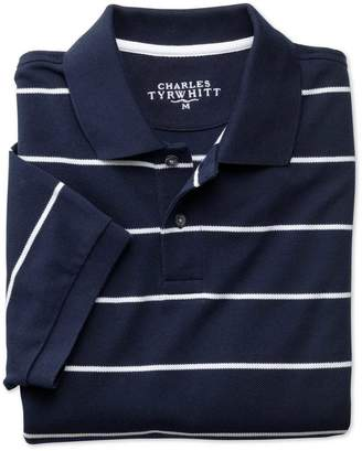 Navy and White Stripe Pique Cotton Polo Size Large