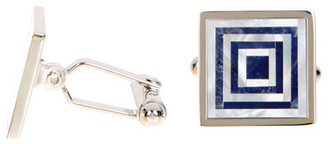 David Donahue Sterling Silver Soda Mother of Pearl Cuff Links $195 thestylecure.com