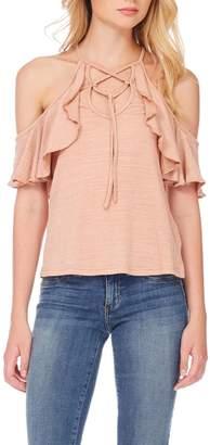Anama Lace-Up Cold-Shoulder Blouse
