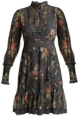 Zimmermann Unbridled Floral Print Silk Dress - Womens - Grey Print