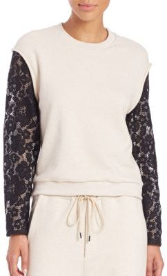 3.1 Phillip Lim French Terry Lace-Sleeve Sweatshirt