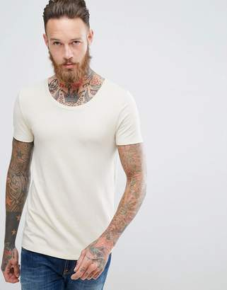 Asos Muscle Fit T-Shirt With Scoop Neck In Cream