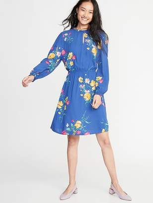 Old Navy Waist-Defined Ruffle-Trim Dress for Women