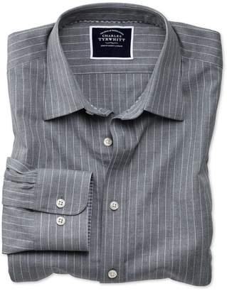 Charles Tyrwhitt Slim Fit Grey Stripe Soft Textured Cotton Casual Shirt Single Cuff Size Large