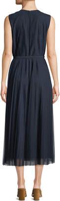 Lafayette 148 New York Charlotte Sleeveless Pleated Midi Dress