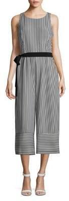 Gabby Skye Striped Self-Tie Jumpsuit