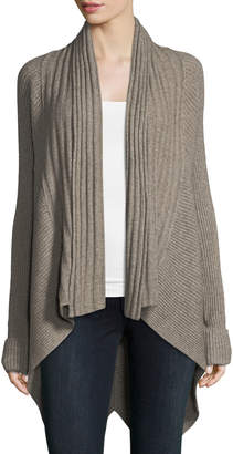 Metric Knits Multi-Ribbed High-Low Cardigan , Taupe