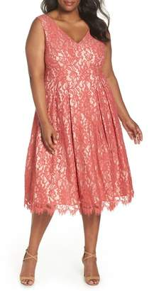 Eliza J V-Neck Midi Lace Fit & Flare Dress