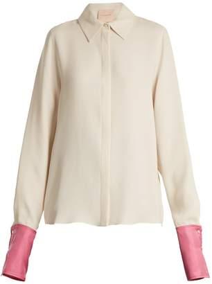 Roksanda Kanika contrast-cuff silk-georgette blouse