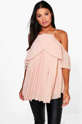 boohoo Cold Shoulder Pleated Ruffle Top