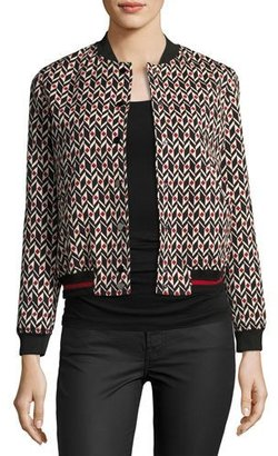 ba&sh Trish Bomber Jacket, Red/Black Pattern $495 thestylecure.com