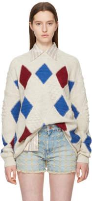 Etoile Isabel Marant Off-White Argyle Gink Sweater