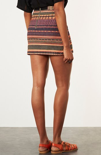 Topshop 'Safari' Ikat A-Line Skirt Orange Multi 6