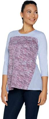 Logo By Lori Goldstein LOGO Lounge by Lori Goldstein French Terry Top with Print and Godets