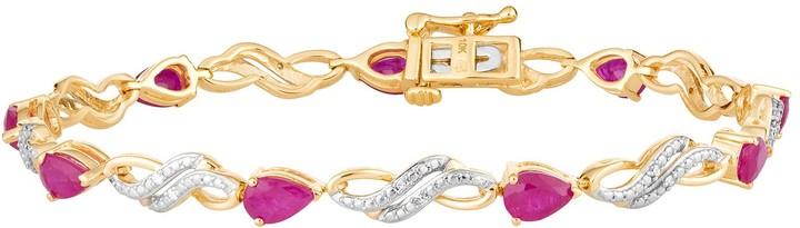 10k Gold Ruby & Diamond Accent Double Infinity Link Bracelet