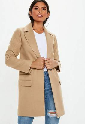 Missguided Camel Button Front Slim Coat