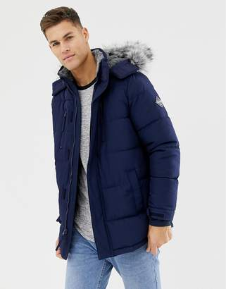 4980899a12 Hollister hooded puffer parka jacket faux fur trim in navy