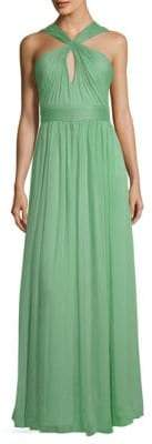 Halston Gathered Floor-Length Dress