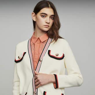 Maje Long block-knit jacket