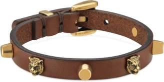 Gucci Leather bracelet with feline heads