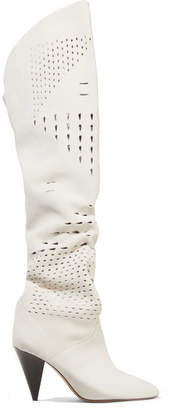 Isabel Marant Lyde Laser-cut Suede Thigh Boots - White