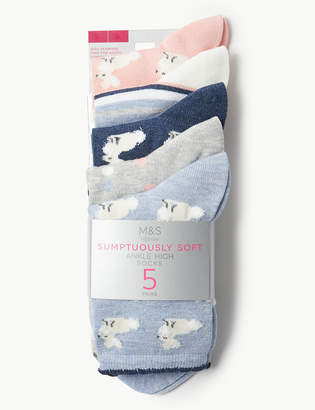 Marks and Spencer 5 Pair Pack Bunny Ankle High Socks
