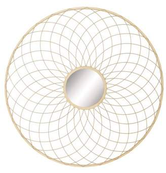 DecMode Decmode Glam 42 Inch Gold Tin Curved Wire Mesh Design Round Wall Mirror , Gold