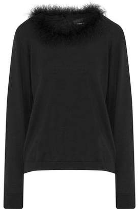 Simone Rocha Feather-Trimmed Merino Wool Silk And Cashmere-Blend Sweater