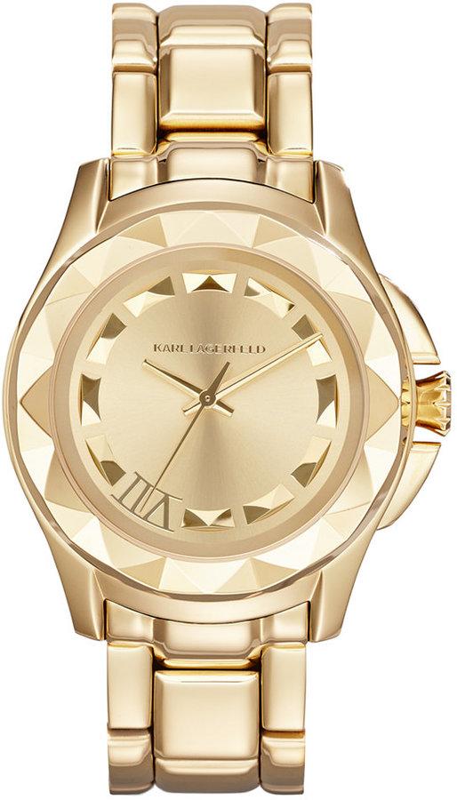 Karl Lagerfeld Women's 7 Gold-Tone Stainless Steel Bracelet Watch 36mm KL1020