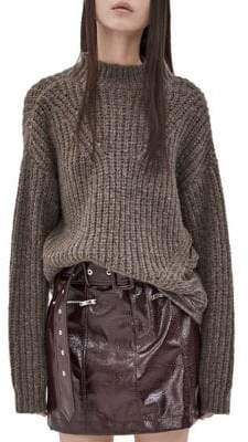 Mo&Co. Ripped Round Neck Sweater