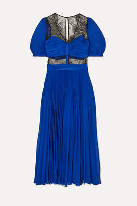 Self-Portrait Lace-paneled Pleated Chiffon Midi Dress - Bright blue