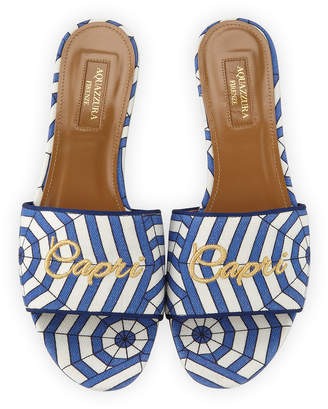Aquazzura Capri Embroidered Flat Mule Sandal, Blue Pattern