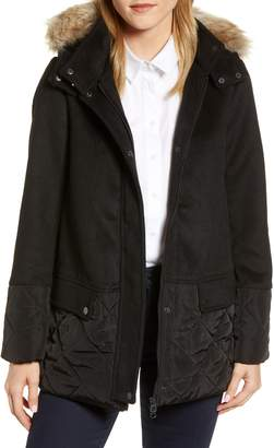 Joules Mixed Texture Hooded Coat with Faux Fur Trim