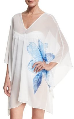 Carmen Marc Valvo Sheer Swim-Coverup Caftan, White $134 thestylecure.com