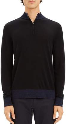 Theory Rothley Color-Block Quarter-Zip Sweater